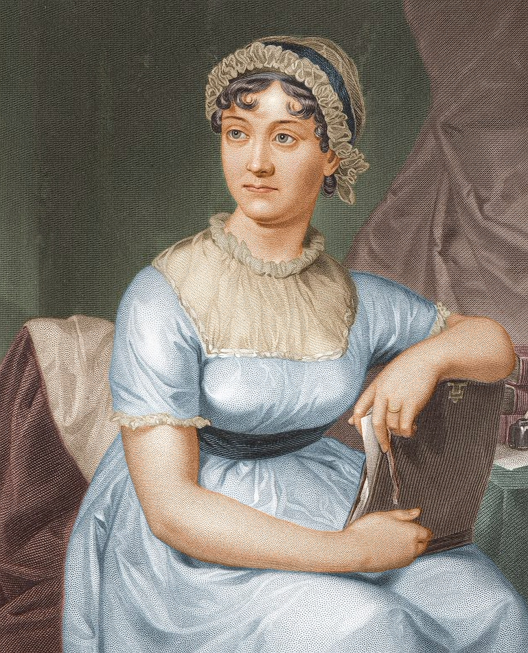 Jane Austen. Colorized version of the 1873 re-engraving.